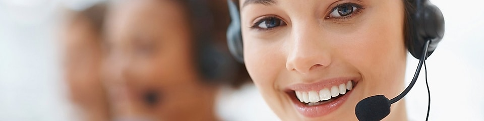 Customer support girl smiling