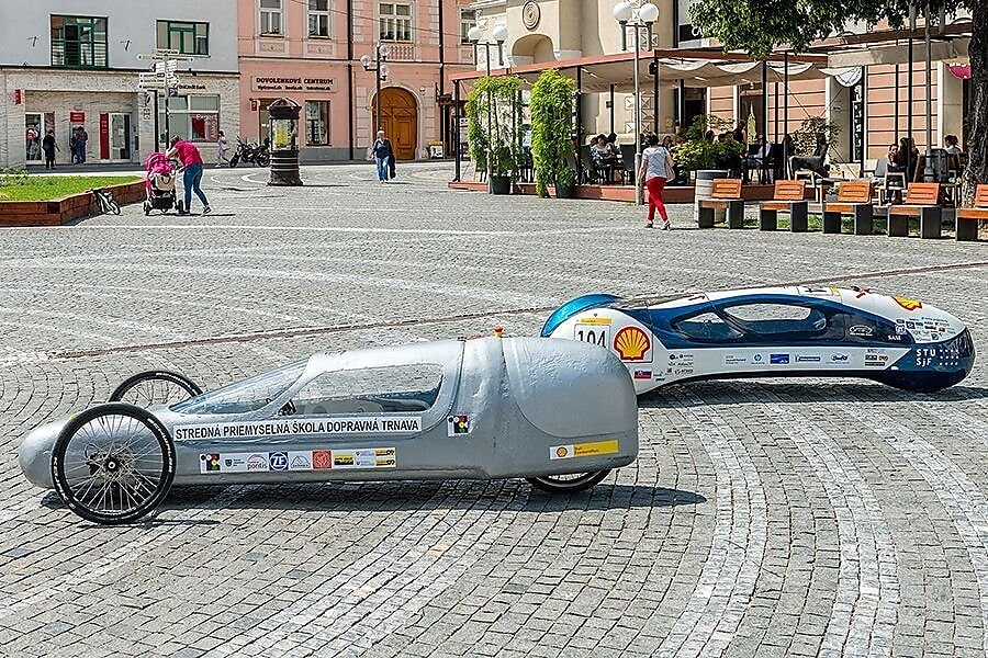 Two prototypes on road at Shell eco-marathon